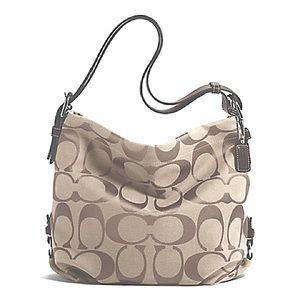 NWT Signature Cream Tan Coach Duffle Bag
